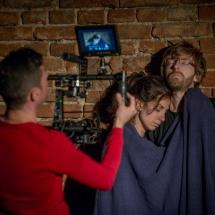 Piotr Maciejewski films Andrea Madrid Mora and Csongor Köllő in their partnership scene, Brzezinka, September 2015, photo Maciej Zakrzewski