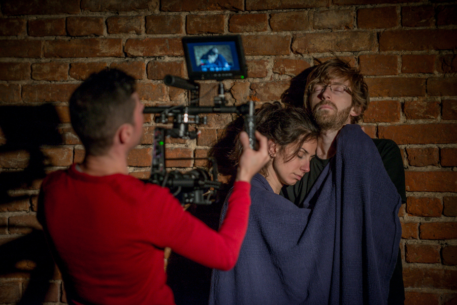 Piotr Maciejewski films Andrea Madrid Mora and Csongor Köllő in their partnership scene, Brzezinka, September 2015, photo Maciej Zakrzewski